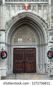 The main doors to an old Lutheran Church