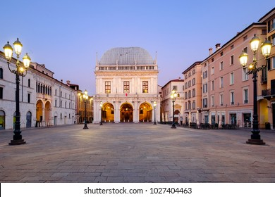 Main downtown of italian city of Brescia near Garda lake called piazza loggia