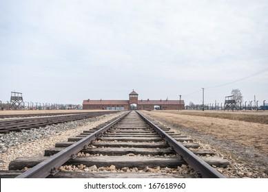 Main entrance to Auschwitz Birkenau Concentration Camp