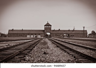 Main entrance to Auschwitz Birkenau Concentration Camp