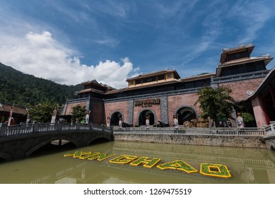 The main entrance to BaNa Hill.  BaNa Hill mountain resort is a favorite destination for many tourists .Bana Hill, Vietnam ,17 Oct. 2018.
