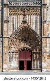 Main entrance to the Batalha Monastery in Batalha, Portugal, a prime example of the Portuguese Gothic architecture.