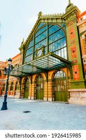 Main entrance door of the Almeria railroad train station.