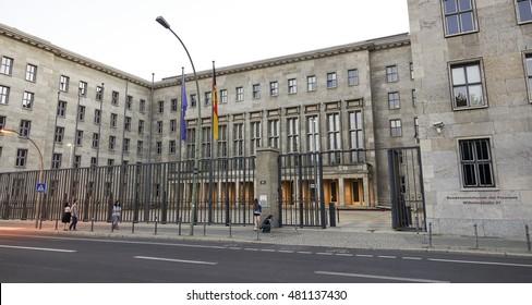 Main Entrance of Federal Ministry of Finance in Berlin - BERLIN / GERMANY - AUGUST 31, 2016