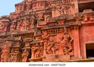 Main entrance gopuram or gate. Closeup of sculptures. Vitthal Temple, Hampi, Karnataka