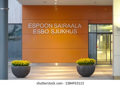 Main entrance of the hospital of Espoo. Espoon Sairaala - Hospital of Espoo. Photo taken in April 2019 in Espoo, Finland