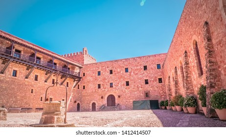 Main entrance at the medieval castle in Siguenza, Guadalajara province in Spain near Madrid. Beautiful, old and medieval castle in Spain