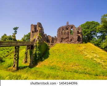 Main Entrance and moat Grosmont Castle  a ruined castle in the village of Grosmont, Abergavenny Monmouthshire, Wales