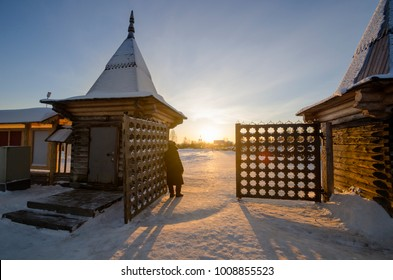 "The main entrance to the museum of wooden architecture ""Malye Korely"". Wooden gates. Russia, Arkhangelsk region, Primorsky district"