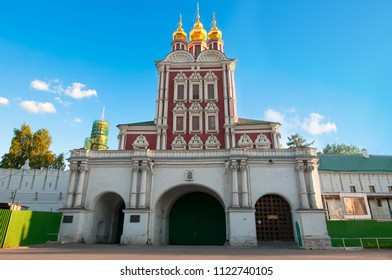 Main entrance of the Novodevichy Convent, also Bogoroditse-Smolensky Monastery. Moscow, Russia.