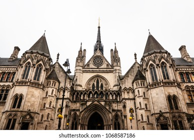 Main entrance to the Royal Courts of Justice building in London, completed in 1882.
