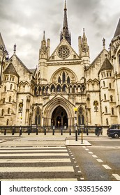 Main entrance of the Royal Courts of Justice on the Strand, London, UK