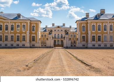 Main entrance of Rundale Palace in a beautiful summer day, Latvia
