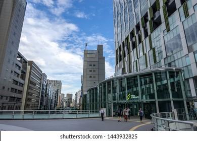 main entrance to shibuya stream shopping compound in shibuya, tokyo, japan. Taken on June 28th 2019