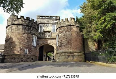 Main entrance to skipton castle. England