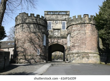 The main entrance to Skipton Castle, North Yorkshire, England