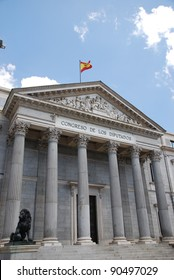 Main entrance of the Spanish congress in Madrid, Spain