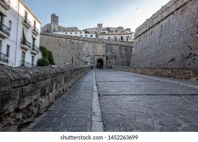 Main entrance tower, Portal de Ses taules, walled enclosure of Dalt Vila of Ibiza, Eivissa, Balearic Islands. Spain.