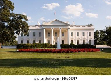 Main entrance of White House at 1600 Pennsylvania Avenue Washington DC