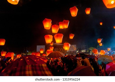 As the main event of 2014 Pingxi Sky Lantern Festival, at Shifen Sky Lantern Square on the Fifteenth day of Lunar New Year, Lantern Festival, Feb 14, 2014, Taipei,Taiwan