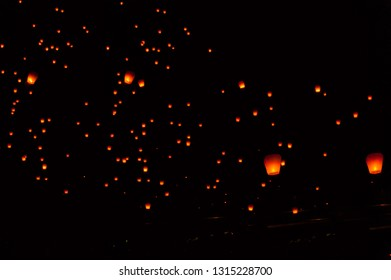 As the main event of  Pingxi Sky Lantern Festival, at Shifen Sky Lantern Square on the Fifteenth day of Lunar New Year, Lantern Festival, Taipei,Taiwan