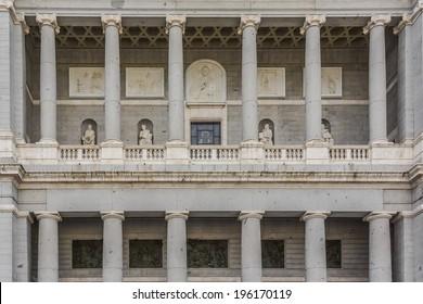 Main facade of Santa Maria la Real de La Almudena (designed by Marquis of Cuba, 1883 - 1993) - Catholic cathedral in Madrid, Spain