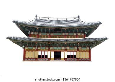 Main Gate of Changdeokgung Palace (Soeul, South Korea) isolated on white background