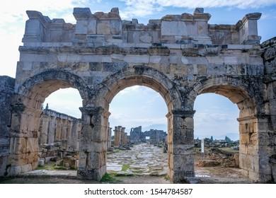 The main gate of Hierapolis,  North Roman Gate, Pamukkale, Denizli, Turkey. Ancient city of Hierapolis.