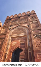 Main gate of the Red Fort, Agra, India.
