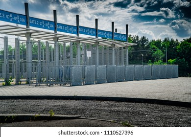 Main Gate of the Stadium arena, entrance, football, gate, soccer, stadium, box-office, door enter entry entryway security accession