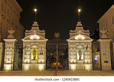 Main gate of University of Warsaw in Warsaw, Poland