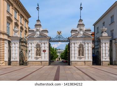 Main Gate to the Warsaw University from Krakowskie Przedmiescie street in city of Warsaw, Poland.
