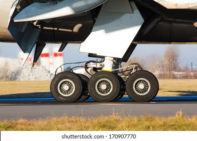 Main gear of huge airplane