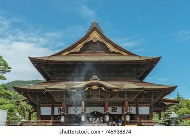 The main hall of Zenko-ji temple in Nagano, Japan