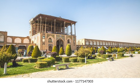 Main islamic mosque during sunshine in Esfahan, Iran, Persia