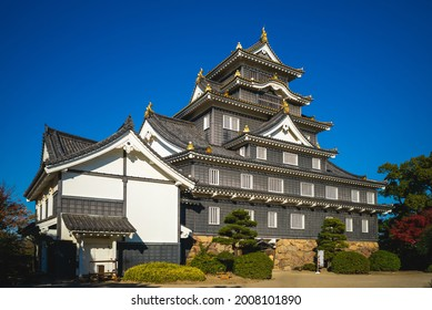 Main keep of Okayama Castle, aka Ujo or crow castle in okayama, japan