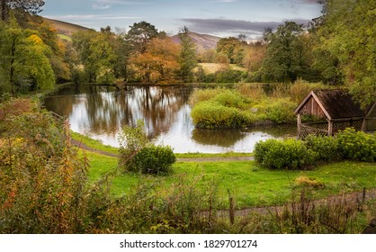 The main lake at Craig y Nos Country park in the Swansea Valley, South Wales UK  - Shutterstock ID 1829701274