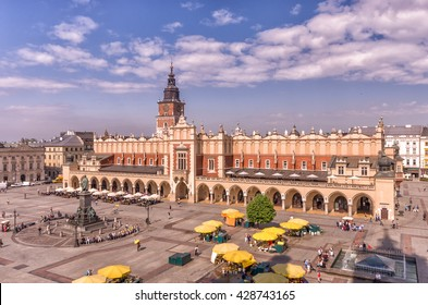 Main market square, cloth hall and town hall tower seen from above, Krakow, Poland