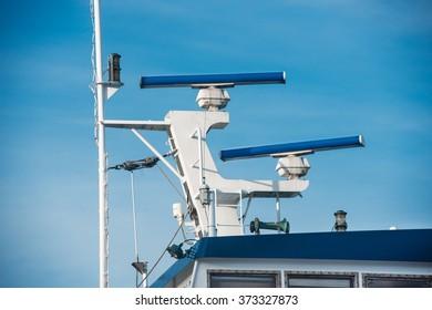 Main mast of passenger ship with navigation equipment