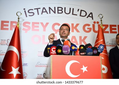 The main opposition Republican People's Party (CHP) candidate for mayor Ekrem Imamoglu, said he won the election with a big difference.23 JUNE 2019 istanbul at Turkey