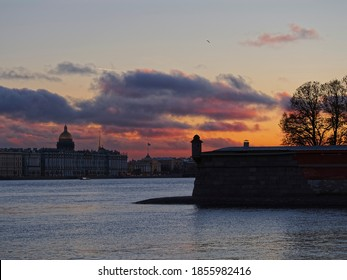 The main pearls of the city: the Hermitage, St. Isaac's Cathedral, the Golden spire of the Admiralty, the Neva and the Peter and Paul fortress. Center of old Saint Petersburg.