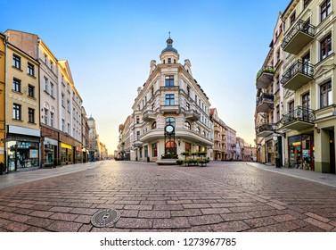 Main pedestrian street in old town of Torun, Poland