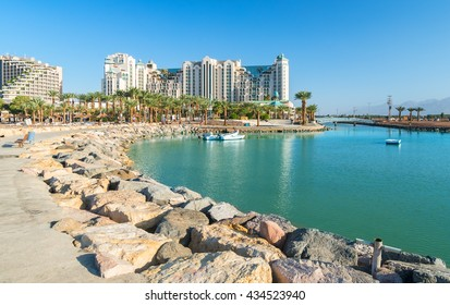 The main pier in Eilat city - famous resort city in Israel