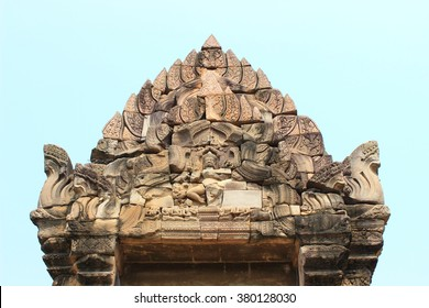 The main prasat ,Phimai Historical Park ,Nakhonratchasima ,Thailand. The ancient architecture , Buddhist Sculpture. One of the most important Mahayana Buddhist temple in Thailand. Khmer architecture.