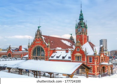 Main railway station in the city center of Gdansk