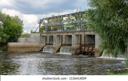 The main road bridge-dam across the river Iput in Dobrush. Belarus