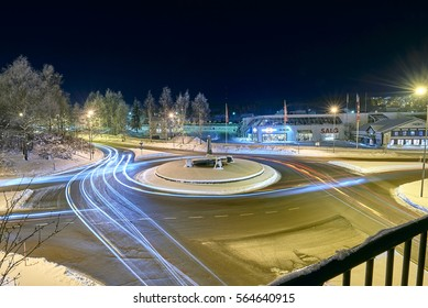 Main Road roundabout in Kongsvinger / Norway. Date 01/21/2016