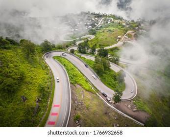 Main road to the top of Phu Thab Buek, High mountain in Phetchabun Province, Thailand.