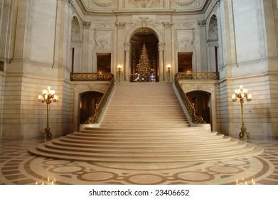 Main rotunda and staircase; City Hall; San Francisco, California