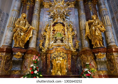 Main shrine of Church of Our Lady of Triumphant (Church of Our Lady Victorious and St. Anthony of Padua) - statue of Infant Jesus of Prague, Prague, Czech Republic